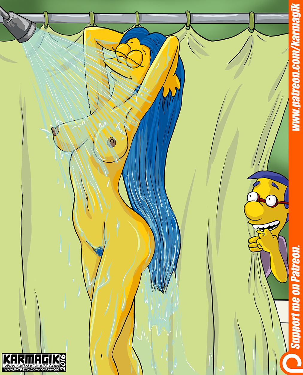 marge naked in shower